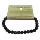 obsidienne dorée bracelet petites boules