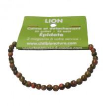 épidote (unakite) bracelet très petites boules (lion)
