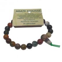 agate mousse bracelet tibétain moyennes boules