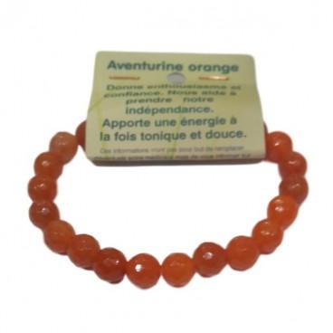 aventurine orange bracelet moyennes boules à facettes
